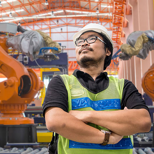 Man standing in a manufacturing facility