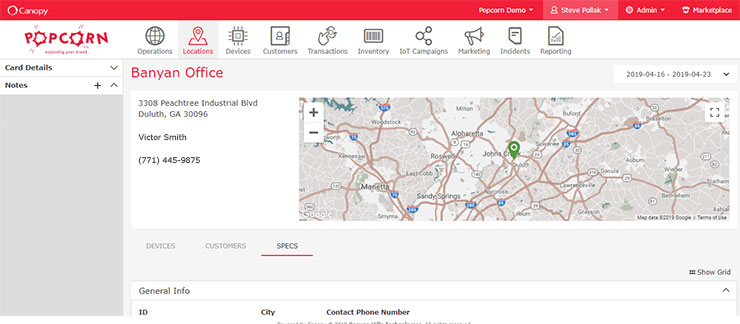 Location details page.