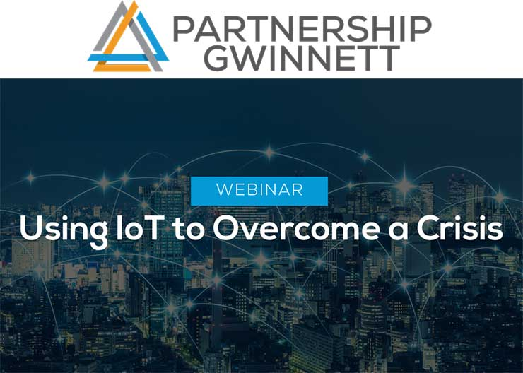 Webinar banner for Partnership Gwinnett event about Using IoT to Overcome a Crisis