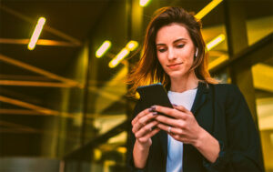 Woman looking at a mobile device